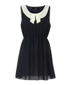 Black & cream collar mini dress Sale - Iska Sale
