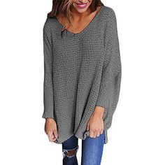 Healthy_YIDAI Women's Casual Autumn V Neck Loose Knit Pullover Tops Sweater Jumper Gray Size M at Amazon Women's Clothing store: