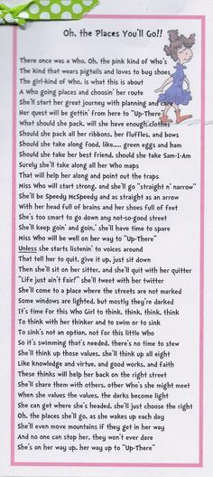 Time of Our Lives: Young Women New Beginnings - Oh The Places You'll Go, Dr. Seuss: