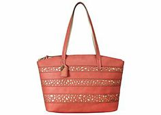 From Relic, the Hadley tote handbag features faux leather exterior with a laser cutout design, lined interior with zip and slip pockets and dual top handles with an optional 26 in. strap. Tote handbag measures 16 in. x 4 in. x 11 in. with a 9 in. drop.