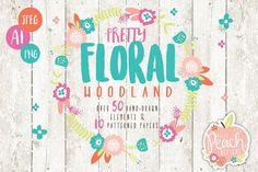 Floral Woodland Animals & Patterns by DillyPeach on @creativemarket
