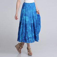 La Cera Women's Denim Tie Dye Printed Maxi Skirt - Overstock™ Shopping - Top Rated La Cera Long Skirts
