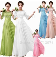 New spring Chiffon White Pink Coral O-neck Mid-Sleeve Bridesmaid Dresses long plus size wedding Party dress lace up back LKF274