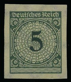 "German Empire, 1923/32 Weimar Republic, Michel 339a U. 5 Pf. postal stamp 1923, colour ""a"", unperforated stamp in unhinged mint superb condition, signed. Michel 350, ?"