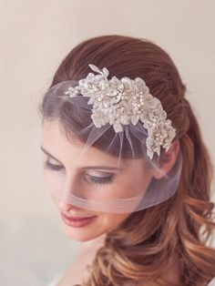 Silver crystal lace headpiece, lace hair comb, bridal hair piece | Affordable Custom Handmade Unique Wedding Bridal Veils Headpieces
