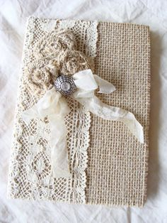 Burlap Lace Journal Diary Notebook Wedding Memory Book Guestbook Giftbook Mother of Bride Bridesmaid Baby Prayer Journal Gratitude Journal Burlap Projects, Burlap Crafts, Mini Albums, Prayer For Baby, Fabric Book Covers, Burlap Lace, Hessian, Fabric Journals, Linens And Lace