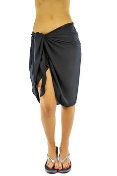 b328df8a9821d Sheer Knee Length Cover Up Sarong Wrap for Women - Black - CK1146Z9WZB