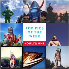 Minnesota is home to some iconic and quirky statues and sculptures. Can you identify these sculptures and their locations? #OnlyinMN Photo credit clockwise from top left: @abbiroad @akuznia118 @coffeewithhoffee @marlenme @noplandk @87counties @hoho_didi @liznemmers