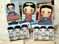 The Independence Celebration - ACEO Giclee Reproduction Collection Mounted On Wood Block by Danita Art (2.5  x 3.5 Inches Set of 5)