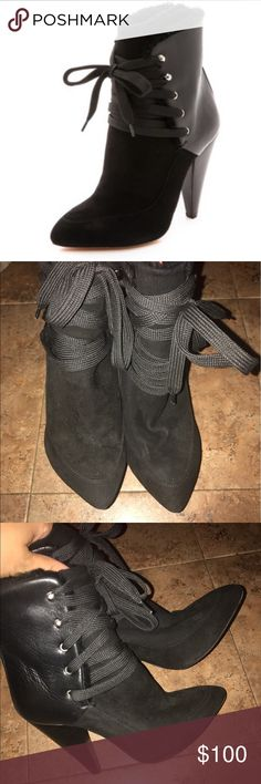 USED IN FAIR CONDITION Women's Black Suede Boots Authentic IRO Vero Cuoio Women's Black Suede And Leather Shearling Lined Lace Up Boots made in Italy, Used!!! But it FAIR/good condition hence the price, Please leave your email if you have any other questions size 36 US SIZE 6 IRO Shoes Ankle Boots & Booties