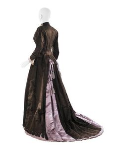Visiting dress (image 2) | House of Worth | France | 1879 | satin, lace | MCNY | Reference #: 40.74.2