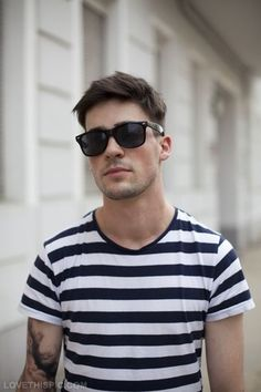 1d836eaf595 Raybans and striped shirt fashion men sunglasses stripes style t-shirt  shades tshirt striped shirt