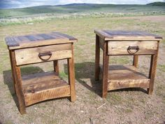 Rustic end table - country, primitive, weathered wood, lodge, cabin