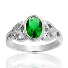 925 Sterling Silver Celtic Triquetra Emerald Green Knot Ring