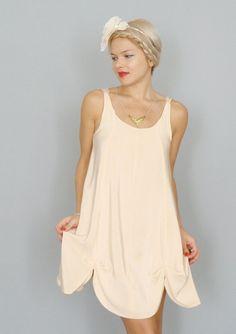 So cute for bridesmaids! Petal Blush Pink Silk crepe de chine petal hem aline by dahlnyc, $248.00