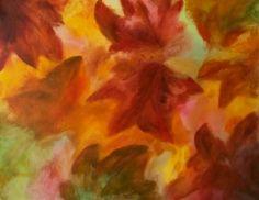 Foglie d'autunno acquarello su carta bagnata