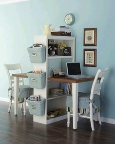 Double desk with a table  a shelf. Simple and useful!