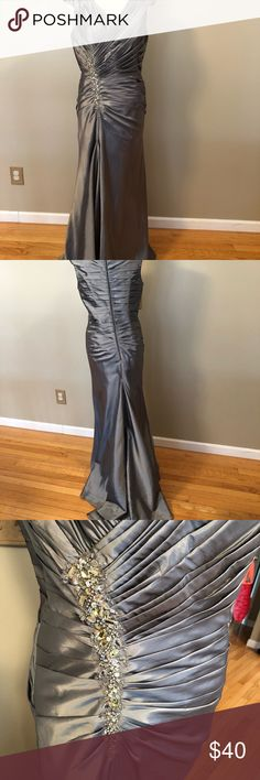 Mother of the bride/groom dress La Perle formal gown worn to my son's wedding four years ago. Bust 37, waist 29, hip 37.5. It has a small train so I had an eye hook put in so I could bustle at reception. You'll notice the thread to bustle broke (last picture) so would have to be added if you decided to bustle. There's also a small snag in the front which I posted pic of. Has built in slip. Dresses Wedding