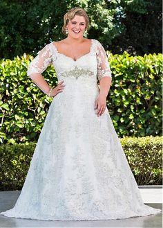 Elegant Tulle V-neck Neckline A-line Plus Size Wedding Dresses With Lace Appliques