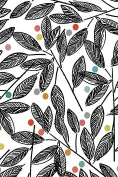 Hand drawn leaves by pragya_k.  Black and white leaf illustration with color dots.  Available in fabric, wallpaper, and gift wrap.