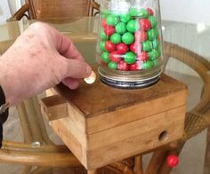 Child's Wooden Coin-Operated Gumball Machine : 11 Steps (with Pictures) - Instructables Wood Shop Projects, Wood Projects For Kids, Woodworking Projects For Kids, Kids Wood, Woodworking Crafts, Woodworking Plans, Diy Gumball Machine, Bubble Gum Machine, Candy Dispenser