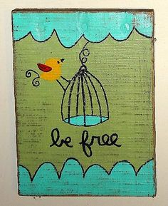 BE FREE Bird Wire Birdcage whimsical Painting by TheBarkingDogShop, $16.00