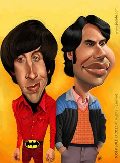 Caricatura de Howard Wolowitz y Rajesh Koothrappali The Big Bang Theory Fans… Cartoon People, Cartoon Faces, Funny Faces, Cartoon Art, Cartoon Characters, Big Bang Theory, Funny Caricatures, Celebrity Caricatures, Silvester Stallone