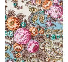 Buy woolen Russian shawl Spring creek light blue with silk fringe ...