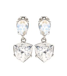 Oscar de la Renta - Shield crystal-embellished earrings - Oscar de la Renta does glamorous best and these Shield earrings prove it. The drop down style is crafted from large, glimmering crystals in a neutral hue for a glimmering diamond look. Let them accent an updo. - @ www.mytheresa.com