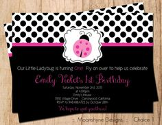 Little Ladybug Birthday Invitation . Black Pink and White . Printable . Digital