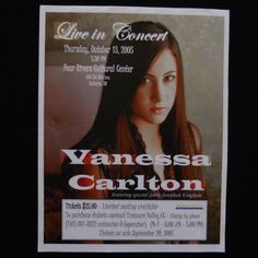 This is a Vanessa Carlton concert flyer for her show at the Four Rivers Cultural Center in Ontario, OR on October th, Jonathan Kingham was the special guest act at the concert. Vanessa Carlton, Ontario Oregon, Nick Jonas Smile, Flyer Poster, Concert Flyer, Cultural Center, My Favorite Music, Special Guest, Trinidad
