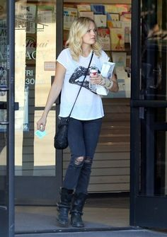 'Trophy Wife' actress and new mom Malin Akerman leaving a doctor's office in Los Angeles, California sporting an arm brace on November 1, 20...