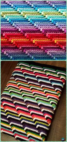 Crochet Groovy-ghan Blanket Free Pattern - Crochet Rainbow Blanket Free Patterns