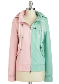 Leipzig Hoodie in Mint and Pink - 2, Multi, Pink, Mint, Solid, Pockets, Casual, Pastel, Hoodie, Long Sleeve, Spring, Fall, Short, Travel, Winter, Mint, Top Rated