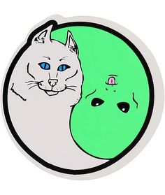 Keep things interesting and add some custom flavor to anything and everything with this alien and cat yin yang sticker made with an easy-to-use peel and stick design.