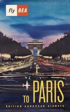 Fly BEA to Paris by Artist Unknown (1958) | Shop original vintage posters online: www.internationalposter.com