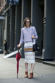 stripes on stripes (via An Unknown Quantity | New York Fashion Street Style Blog | ニューヨークストリートスナップ: #294 Kailey on Crosby St.)