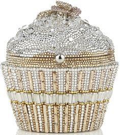 Judith Leiber Champagne Sequin Cupcake Clutch Bag