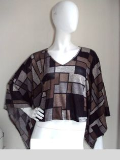 Romeo Juliet Couture Cool Ethnic Aztec Print Kimono Sleeve Cropped Cape Top M | eBay