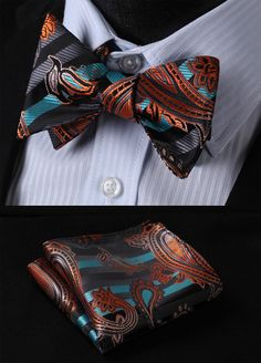 BFS003Q Aqua Orange 100%Silk BUTTERFLY TIE SELF TIE BOW TIE POCKET SQU