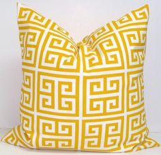 YELLOW OUTDOOR PILLOW Sale.24x24 inch Decorative Pillow Cover.Housewares.Home Decor.Pillow Sale.Outdoor Cushion.61 cm.Yellow Greek Key.Maze