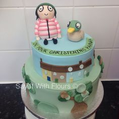 Sarah and Duck christening cake by Say It With Flours