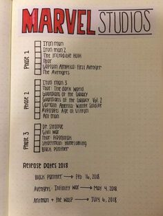 Universe Checklist for Bullet Journal 2018 . - - movies to watch -Marvel Universe Checklist for Bullet Journal 2018 . - - movies to watch - My MCU tracker in my bullet journal Journaling Hacks . Bullet Journal 2018, Bullet Journal Inspo, Bullet Journal Ideas Pages, My Journal, Journal Pages, Bullet Journal Netflix, Bullet Journal Homework, Bullet Journal Goals Page, Calendar Journal