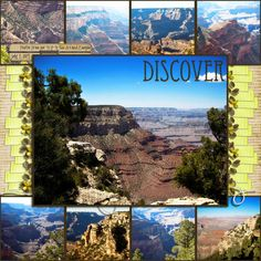 Grand Canyon layout by Scrappymelly.  same idea for garden layout with multiple photos of flowers?