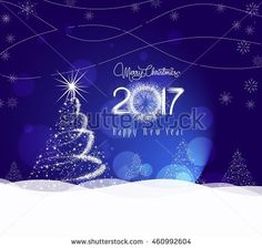 Christmas and happy new year 2017 Background with tree light
