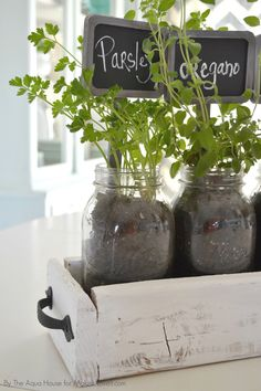DIY Table Top Herb Garden...from an old pallet!   via Make It and Love It