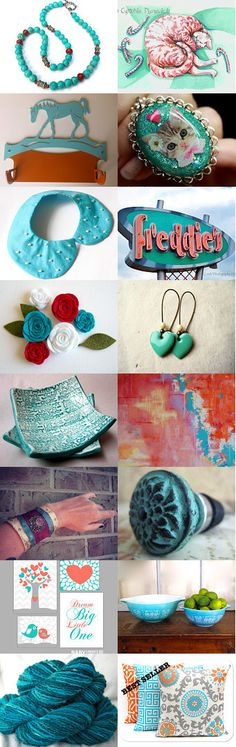 Turquoise and Coral by Diane Waters on Etsy--Pinned with TreasuryPin.com