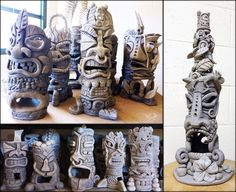 Kapa'a Middle School Art students created a ceramic sculpture with a Hawaiian tiki theme.
