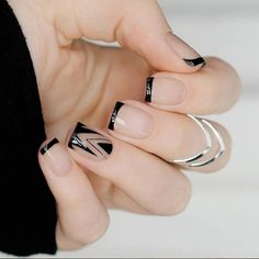35 Splendid French Manicure Designs: Classic Nail Art Jazzed Up - Nails - Line Nail Designs, Acrylic Nail Designs, Acrylic Nails, Floral Designs, Simple Designs, Hair And Nails, My Nails, Long Nails, Fall Nails