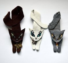 """cat brooch, leather, handmade, white cat, grey cat and brown cat. Size is about 5 """"."""